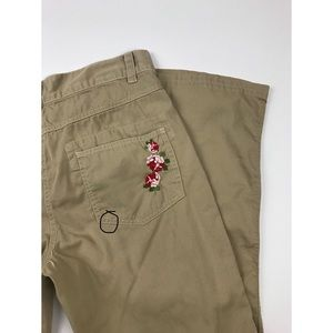 Johnny Was Pants & Jumpsuits - Johnny Was Khaki Floral Embroidered Pants